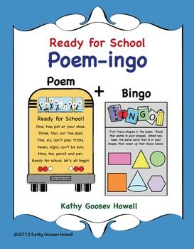 Ready For School Poem Ingo Bingo With A Twist Of Words Shapes Poems About School School Readiness Back To School Poem