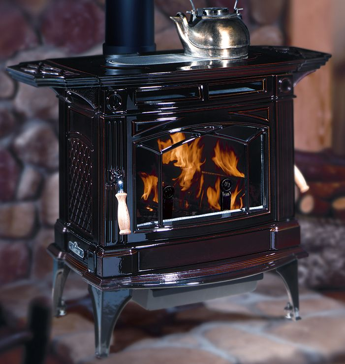 Large Hampton wood stove in brown enamel - Large Hampton Wood Stove In Brown Enamel Stove Installations