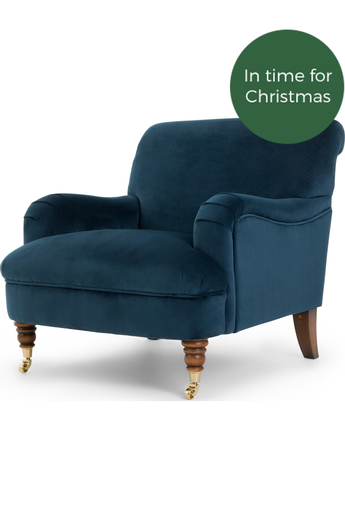 Best About The House Accent Armchair Midnight Blue Velvet 400 x 300