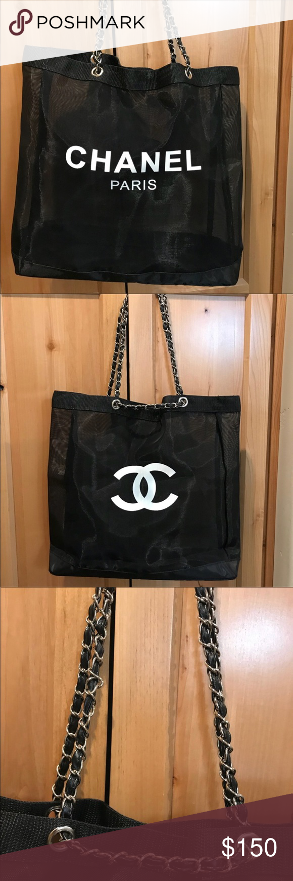 fdfe3ee73225 Chanel Paris VIP CC Mesh Tote Black 🔷PRICE FIRM🔷 14 inch tall by 14