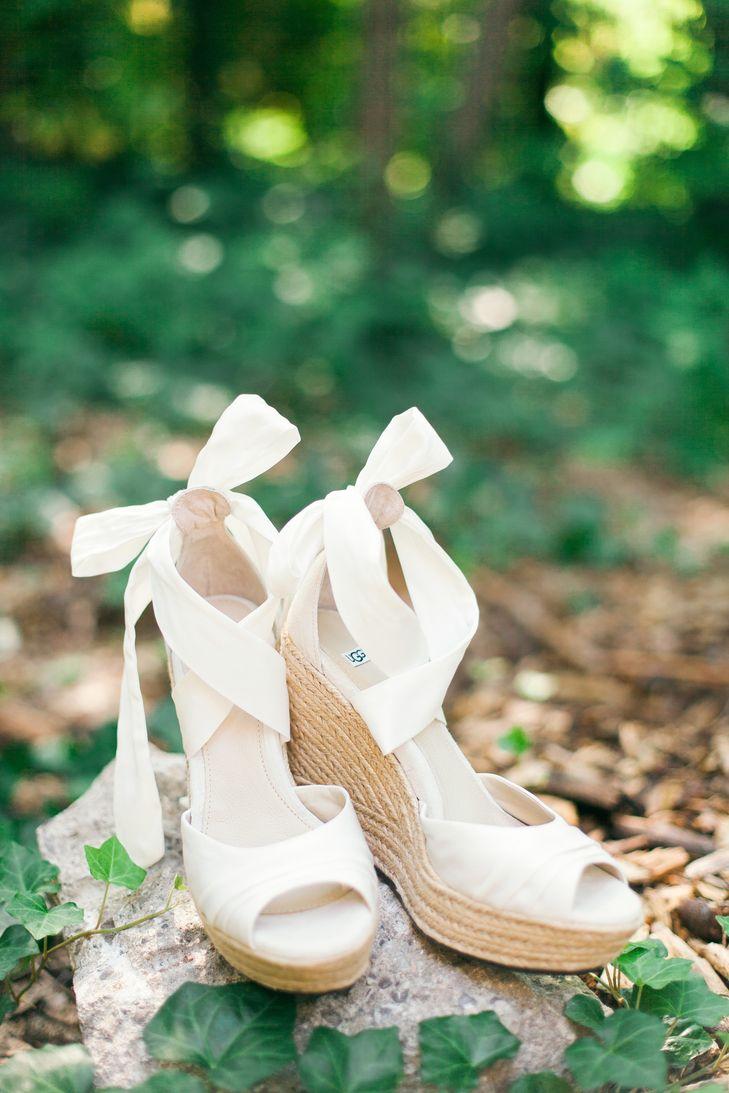 Wedding Shoes Photography: Ivory Peep Toe Bridal Wedge Shoes