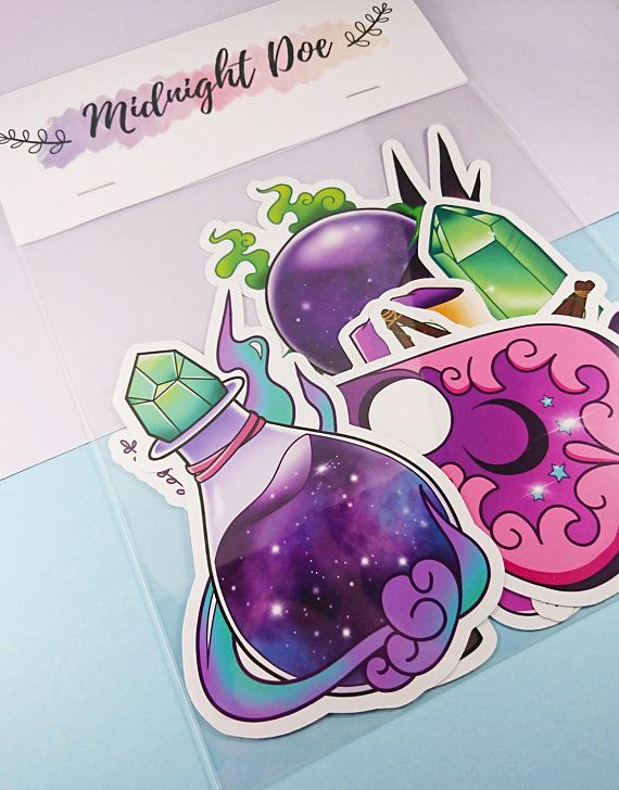 Witchy sticker pack potion bottle witch stickers planchette crystals laptop stickers