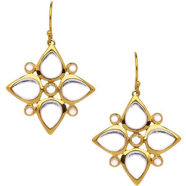 Julie Aylward Greece Clear Quartz Earrings ($250) ❤ liked on Polyvore featuring jewelry, earrings, quartz earrings, clear earrings, 14k earrings, clear jewelry and 14 karat gold earrings