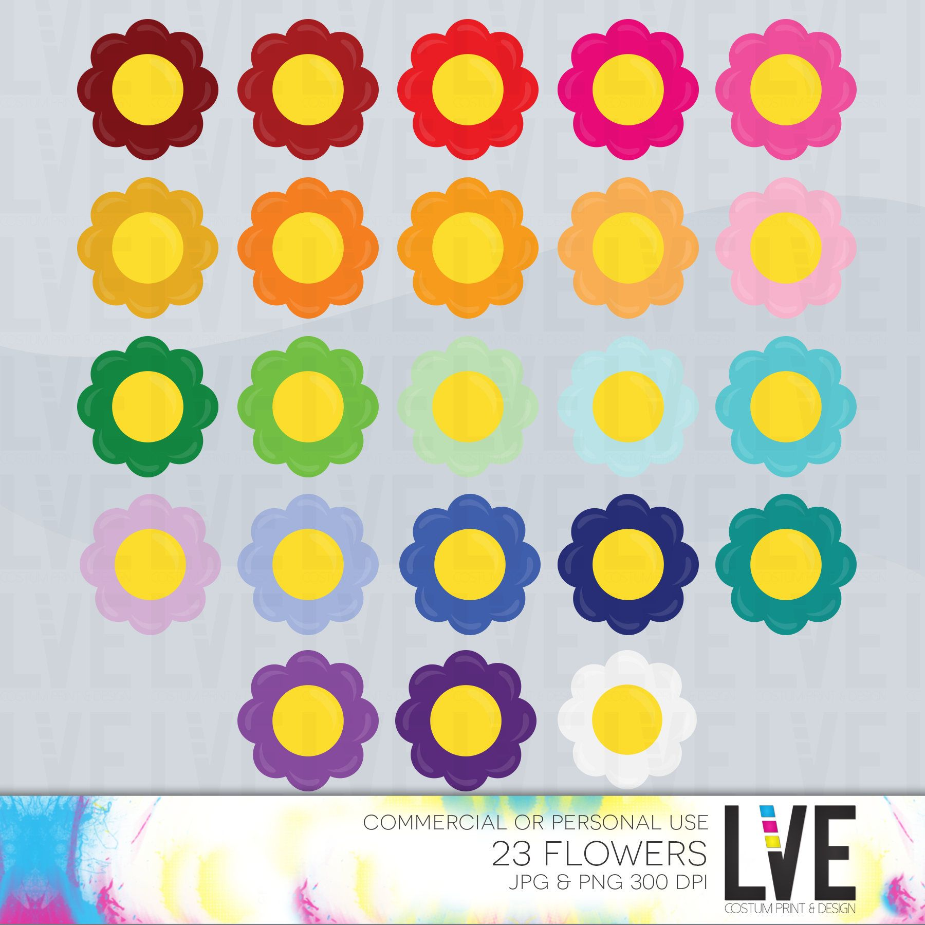 Rainbow Flower Clip Art Rainbow Flowers Spring Flowers Scrapbook