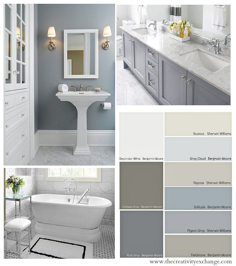 How To Repaint Bathroom Cabinets White this bathroom features gray walls gray vanity and gray penny round