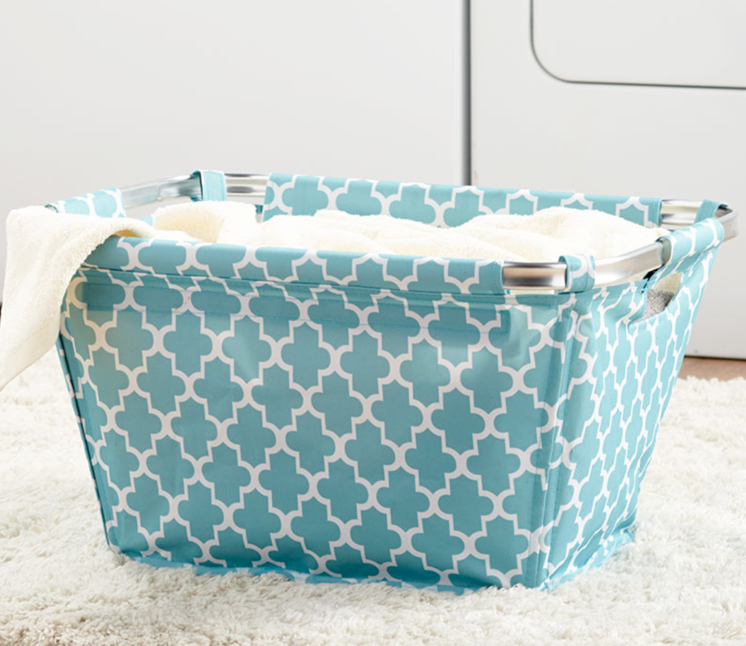 Fabric Laundry Basket Lightweight Tote Storage Blue Geometric