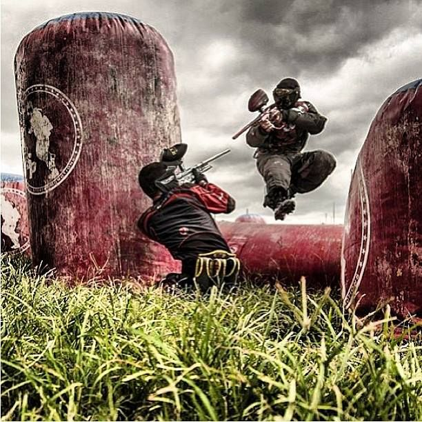 Outdoor paintball generally features natural environments and neutral colours to ground users in reality. Which accentuates the noises of the guns and the pain a bullet gives.