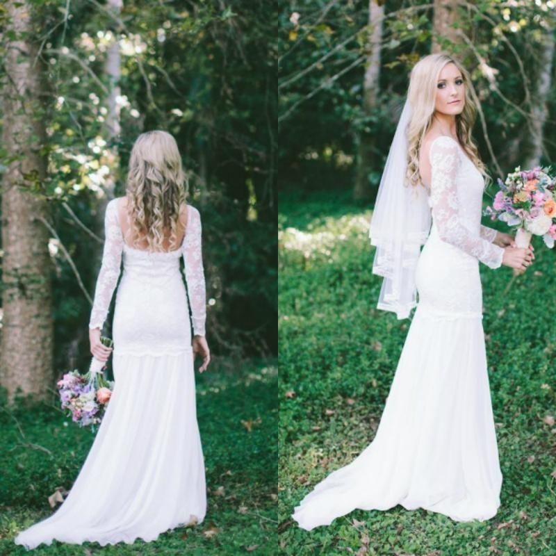Cheap Elegant Open Back Mermaid Chiffon Long Sleeve Lace Wedding Dresses  Ls09591 As Low As  111.56 3ae31a2f681e