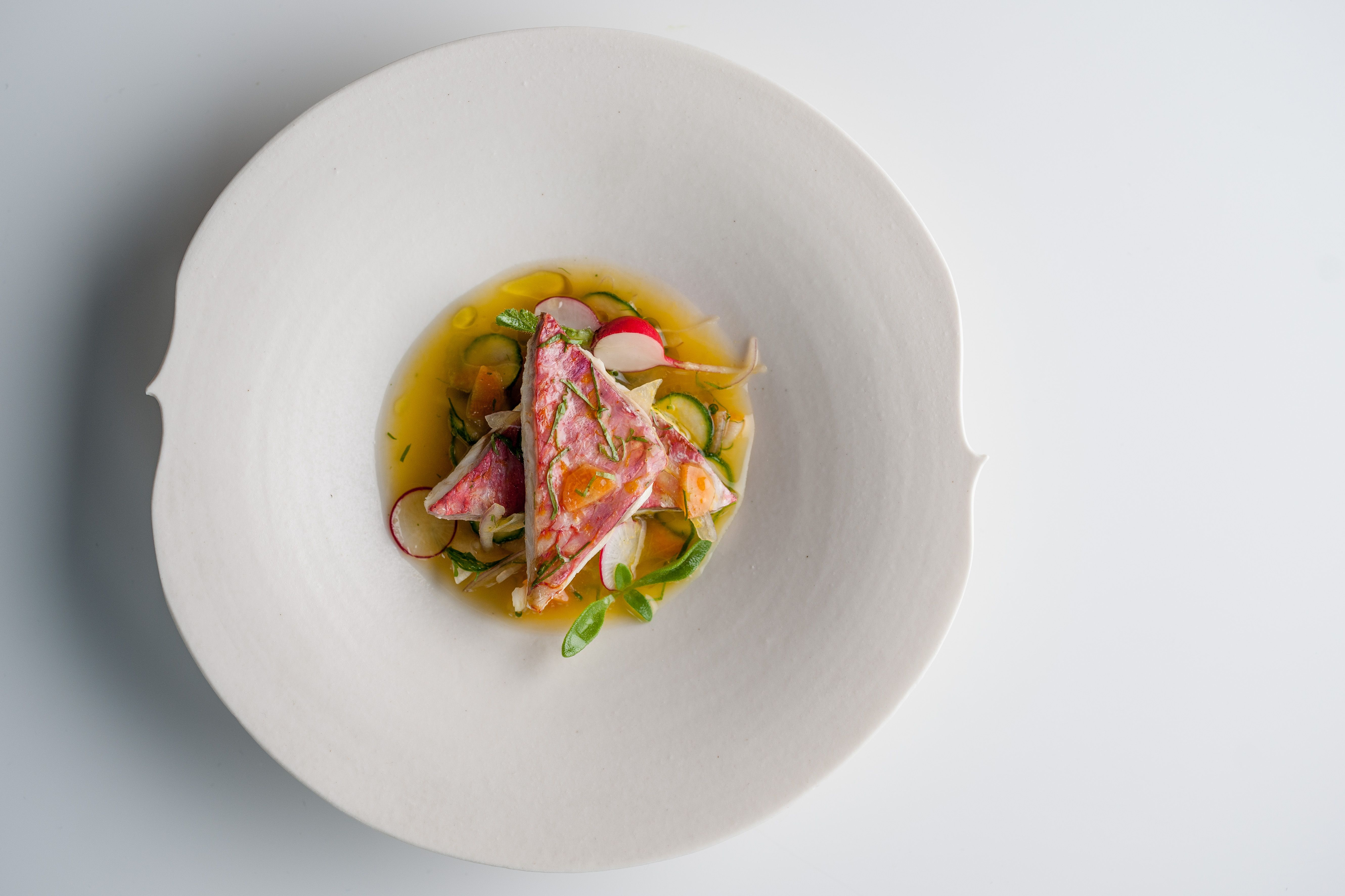 Escabeche of spring veg, red mullet and citrus from Raymond Blanc ...