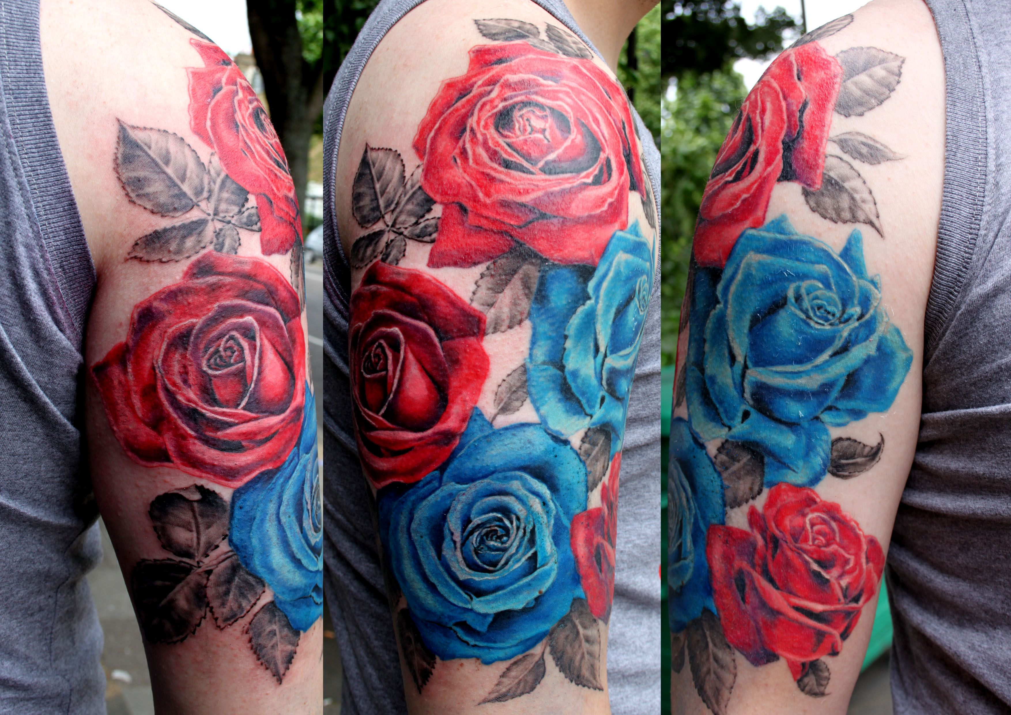 Red And Blue Roses Tattoo By Mirek Vel Stotker Blue Rose Tattoos Rose Tattoos Blue Flower Tattoos