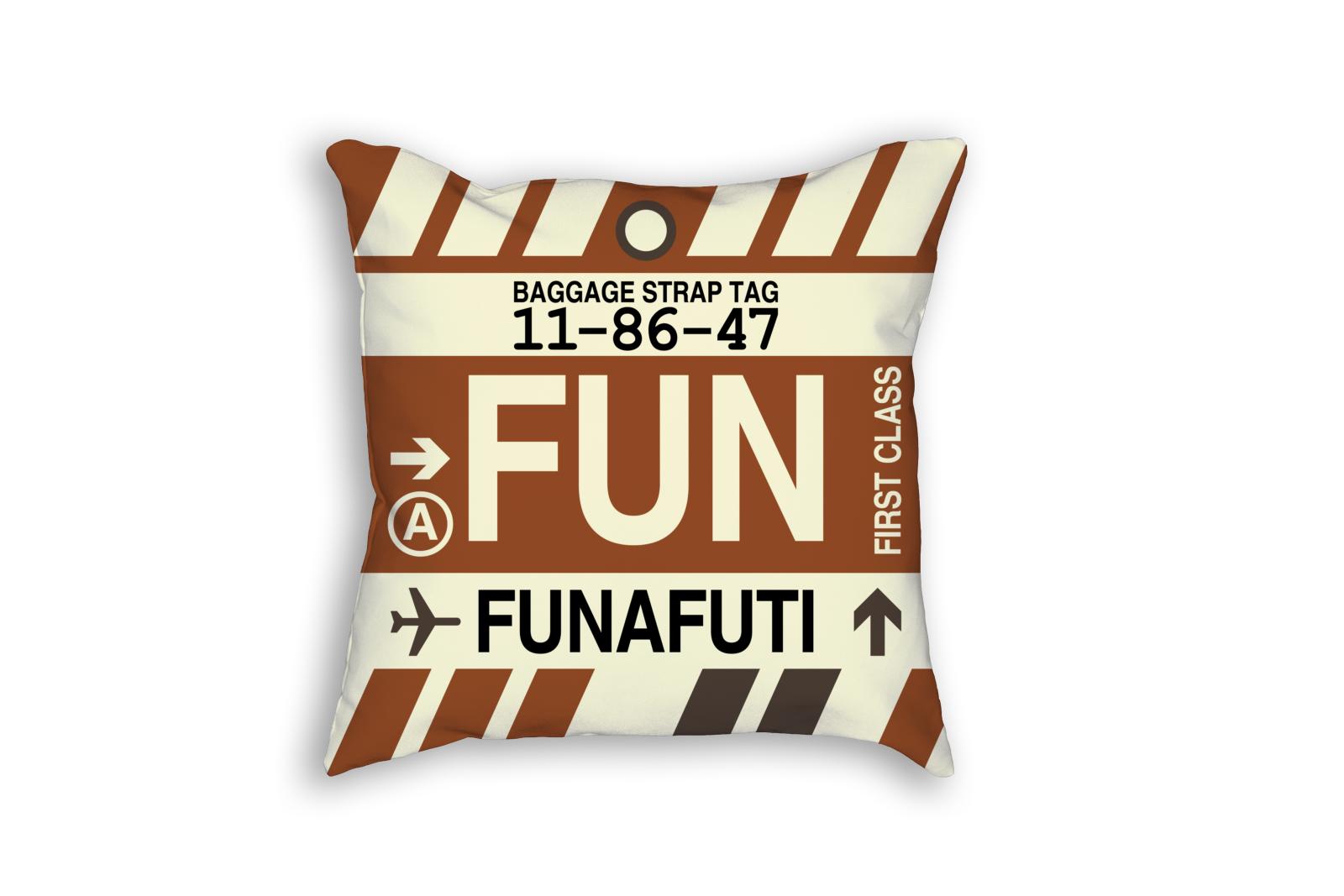 Fun Funafuti Throw Pillow Airport Code Amp Vintage Baggage