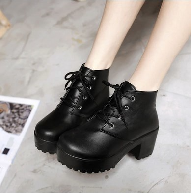 Cute Black and White Lace up PU Leather Boots from KoKo Fashion Trendy Outfits