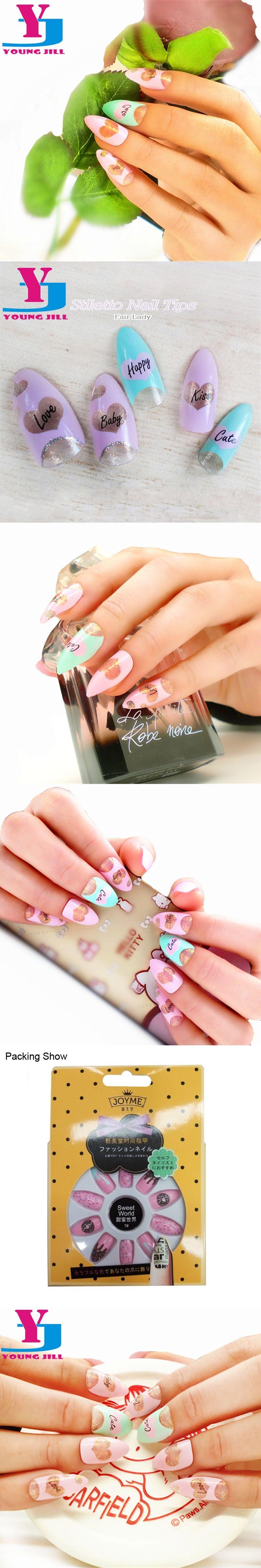 24 pcs/set Decorated False Nails Pre Design Acrylic Fake Nails Full ...