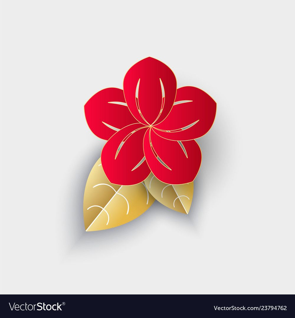 Flower with leaf origami chinese new year decor Vector ...