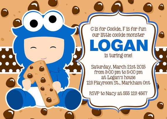 Cookie Monster Invitation Cookie Monster birthday Party Invitation