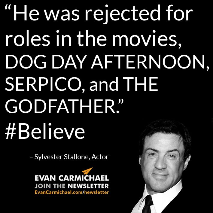 """He was rejected for roles in the movies, DOG DAY AFTERNOON, SERPICO, and THE GODFATHER."" – Sylvester Stallone #Believe             - http://www.evancarmichael.com/blog/2015/06/23/he-was-rejected-for-roles-in-the-movies-dog-day-afternoon-serpico-and-the-godfather-sylvester-stallone-believe/"