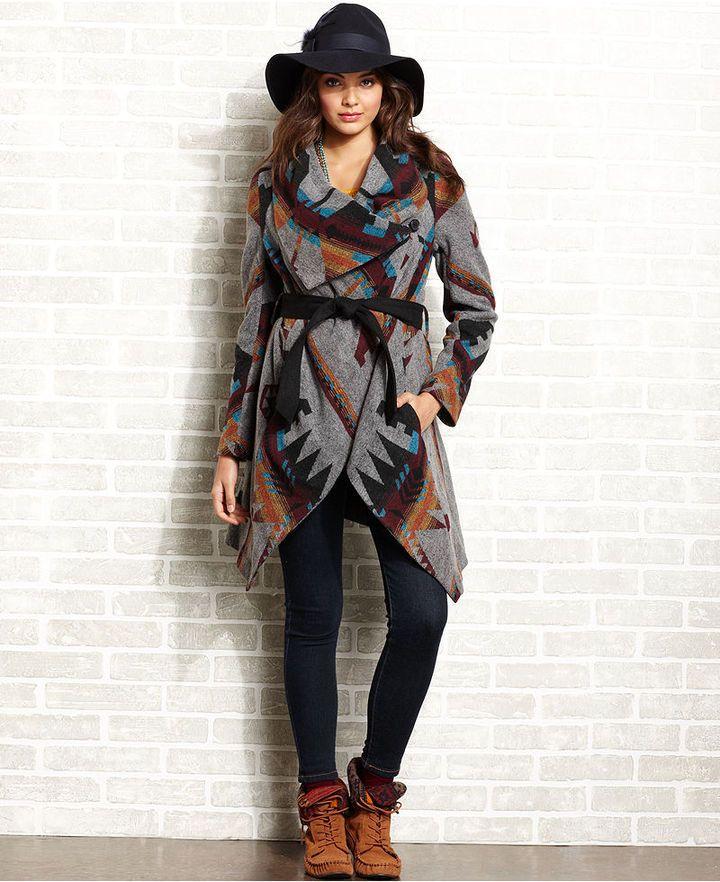blanket coats for women   American Rag Juniors Coat, Belted Navajo ...