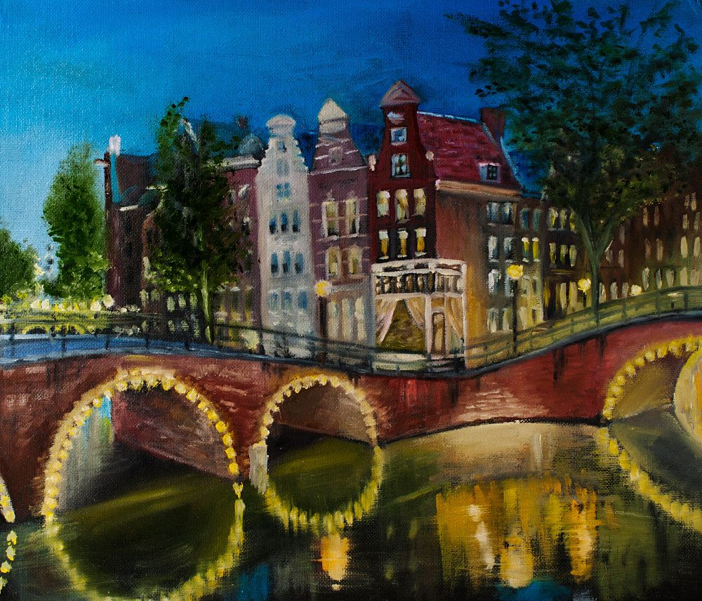 Night in Amsterdam hand-painted oil painting 35x30 cm 13.8x11.8 inches original handpainted by ArtforInterior on Etsy