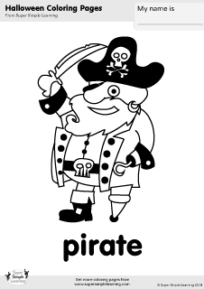 Free Pirate Coloring Page From Super Simple Learning Tons Of Halloween Worksheets Flashcards