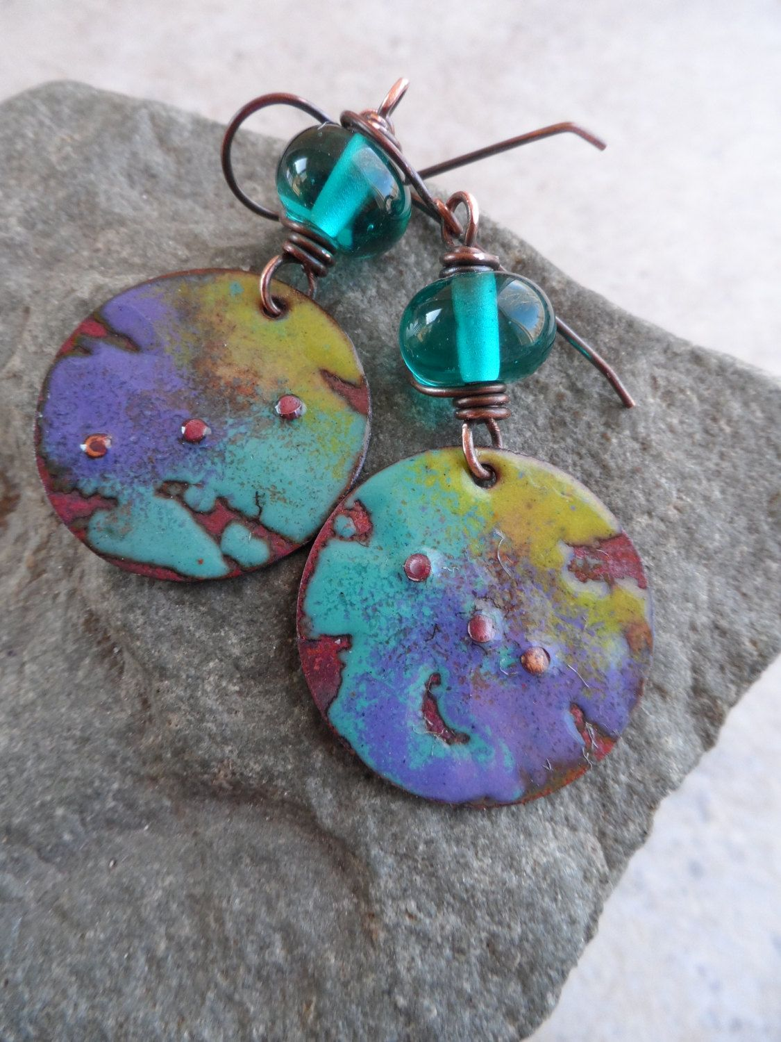 Teal Love ... Lampwork and Enameled Copper Wire-Wrapped Rustic Boho ...