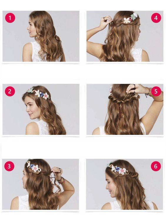 Hair Tutorials Die Schonsten Frisuren Zum Nachstylen Hippie Frisur Haarband Frisur Und Dirndl Frisuren Haarband