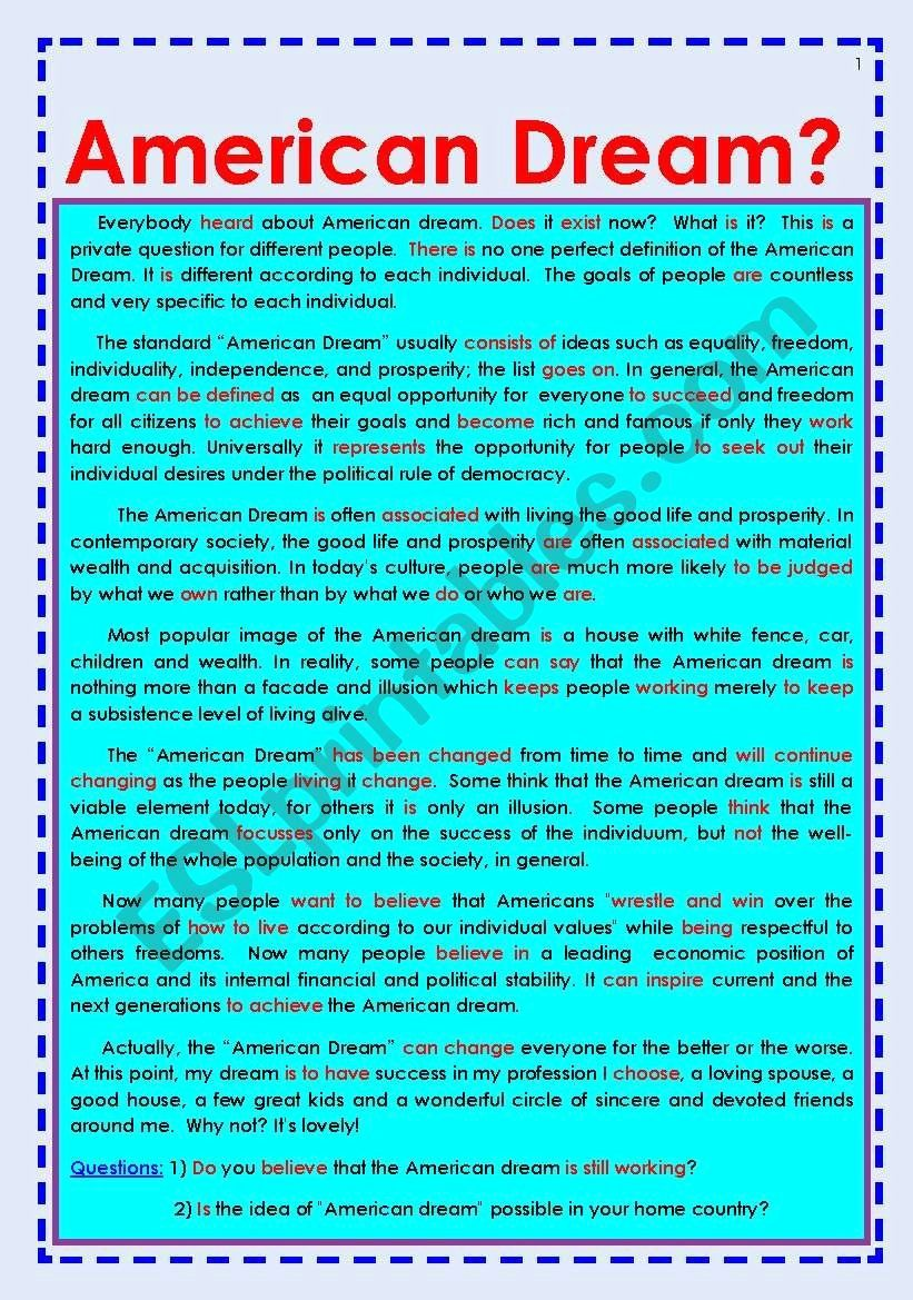 American Dream Essay Conclusion Fresh For Reading And Discussion Esl List Of Jobs The Great Gatsby