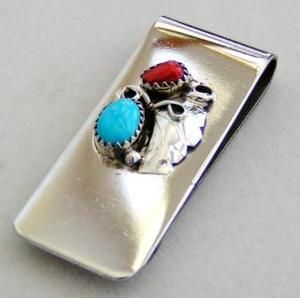 Native American Navajo Turquoise and Coral Money Clip $26