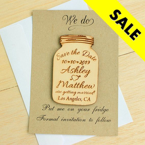 Save The Date Mason Jar Magnet With Paper And Envelope Wedding