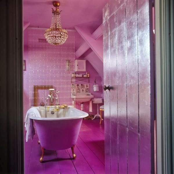 Pink and purple bathroom with Gold Accents Around the House