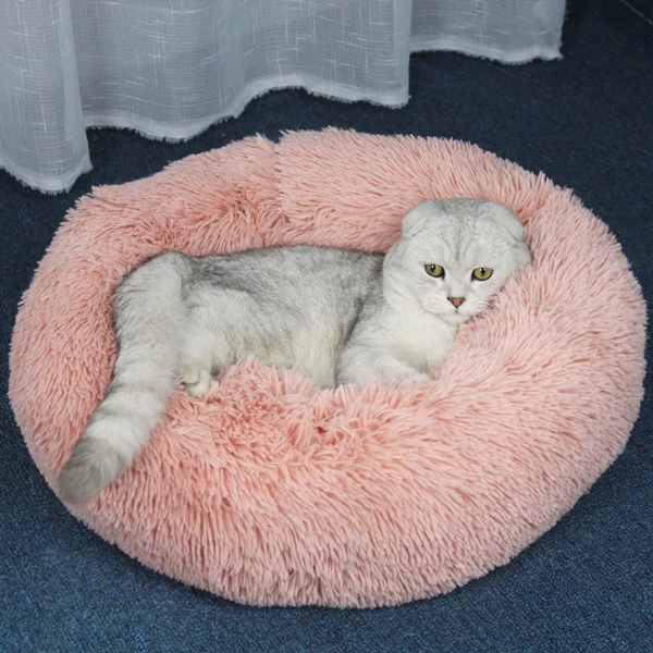 Round Plush Cat Dog Pet Bed Mat Soft Plush Round Nest Warm Sleeping Puppy Dog Pet Beds Cat Bed Pet Beds