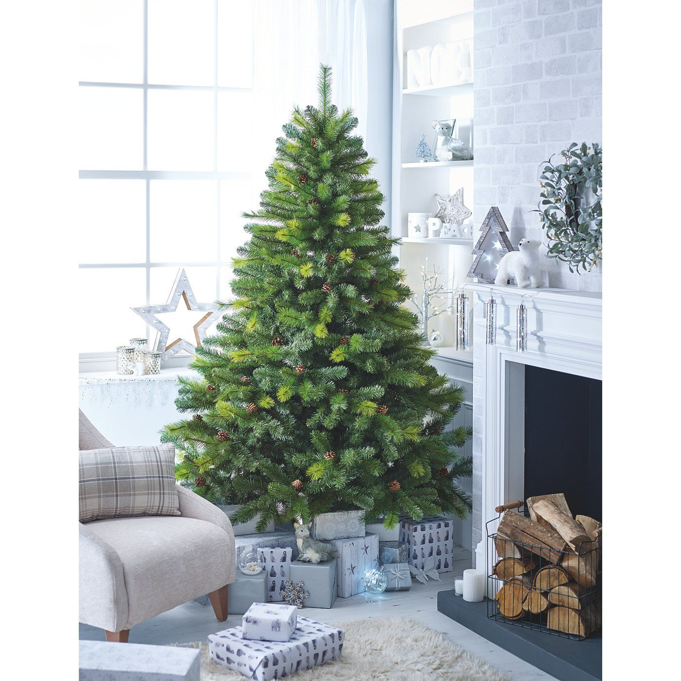 7 Ft Pinecone Tree Shop By Asda Direct Christmas Tree Christmas Tree Decorations Cone Christmas Trees