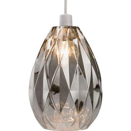 Homebase ceiling light neptune glass easy fit pendant smoke 282091