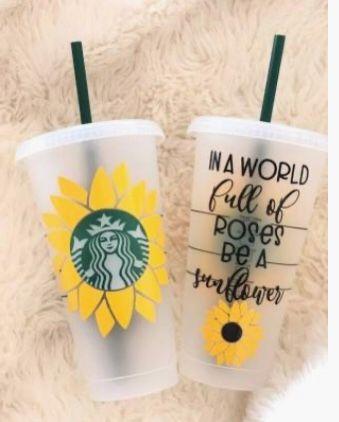 Sunflower Starbucks Custom Starbucks Cup Starbucks Cup Design Starbucks Cup Art