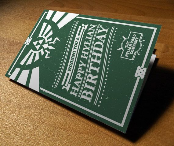 Legend Of Zelda Hyrule Birthday Card Poweredbypixels Birthday