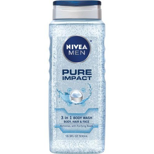 Amazon Com Nivea 3 In 1 Pure Impact Body Wash For Men 16 9 Ounce Pack Of 3 Bath And Shower Gels Beauty Body Wash Pure Products Body