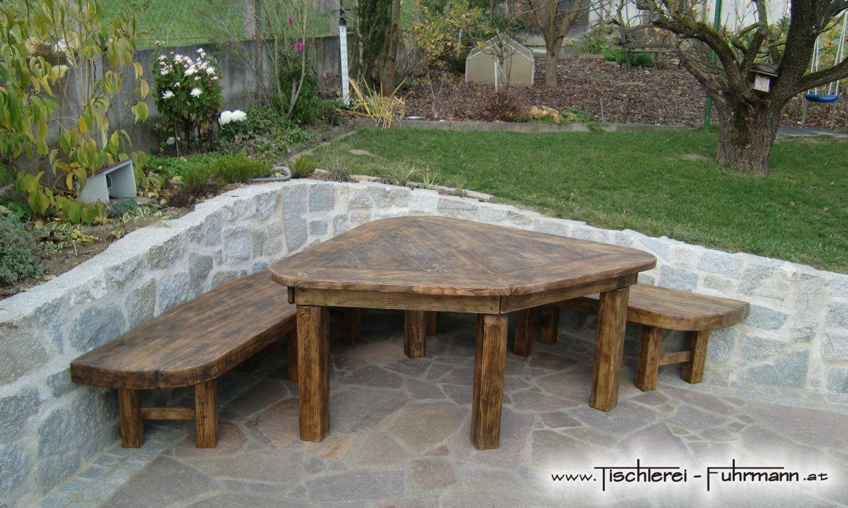 Gartenmöbel Aus Massiver Eiche Rustikal Verarbeitet Ohne