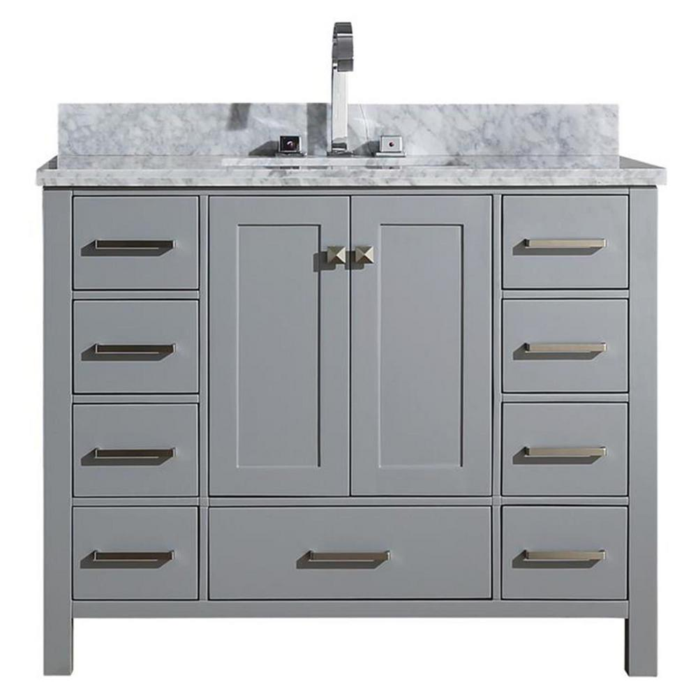 Ariel Cambridge 43 In Bath Vanity In Grey With Marble Vanity Top