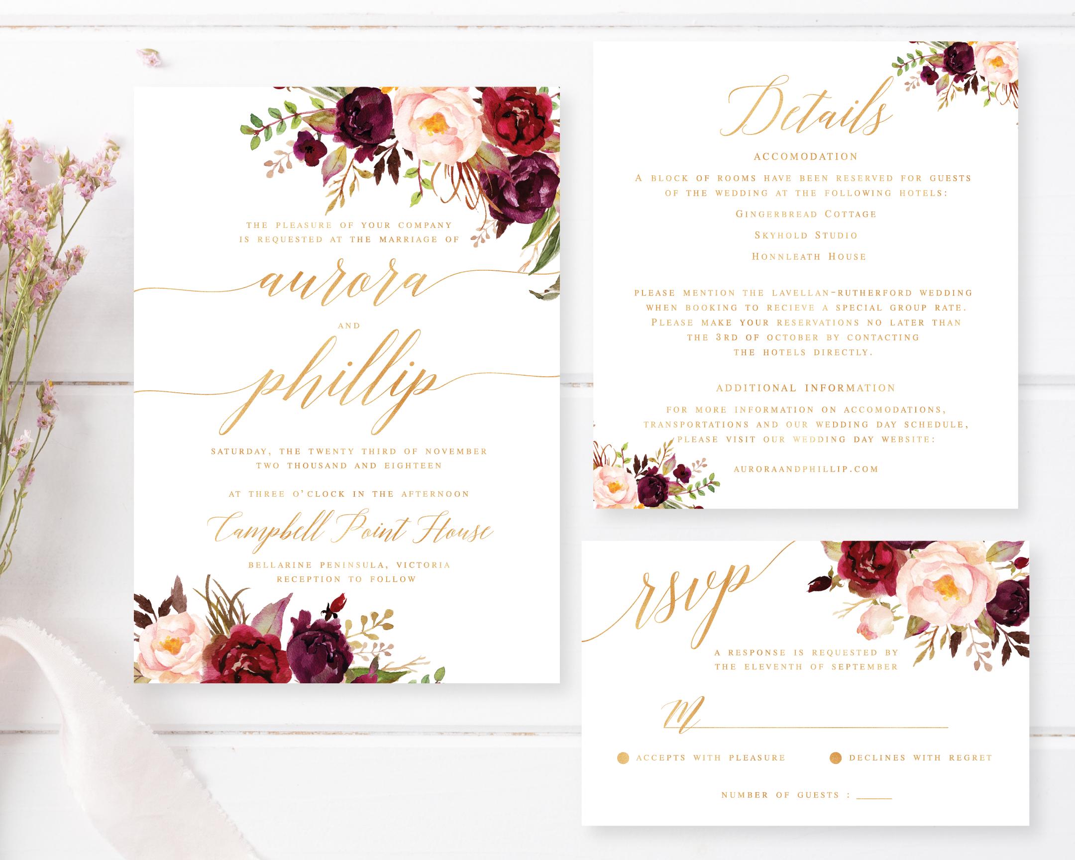 Printable Engagement Invite   Romantic Marsala Design   Gold Foil ...