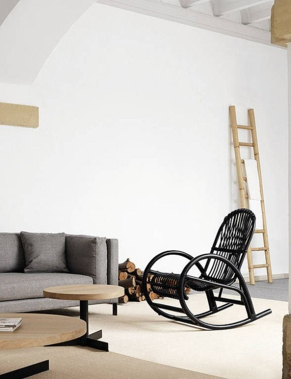 Rattan rocking chair Black Interior Design | http://1decor.net ...