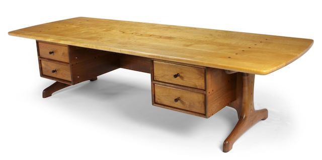 A Sam Maloof fiddle back maple and walnut executive desk