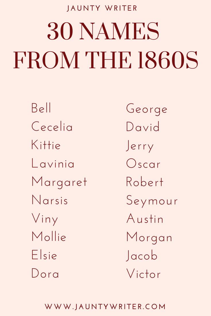 30 Victorian Names: 1860s - CJ Corl
