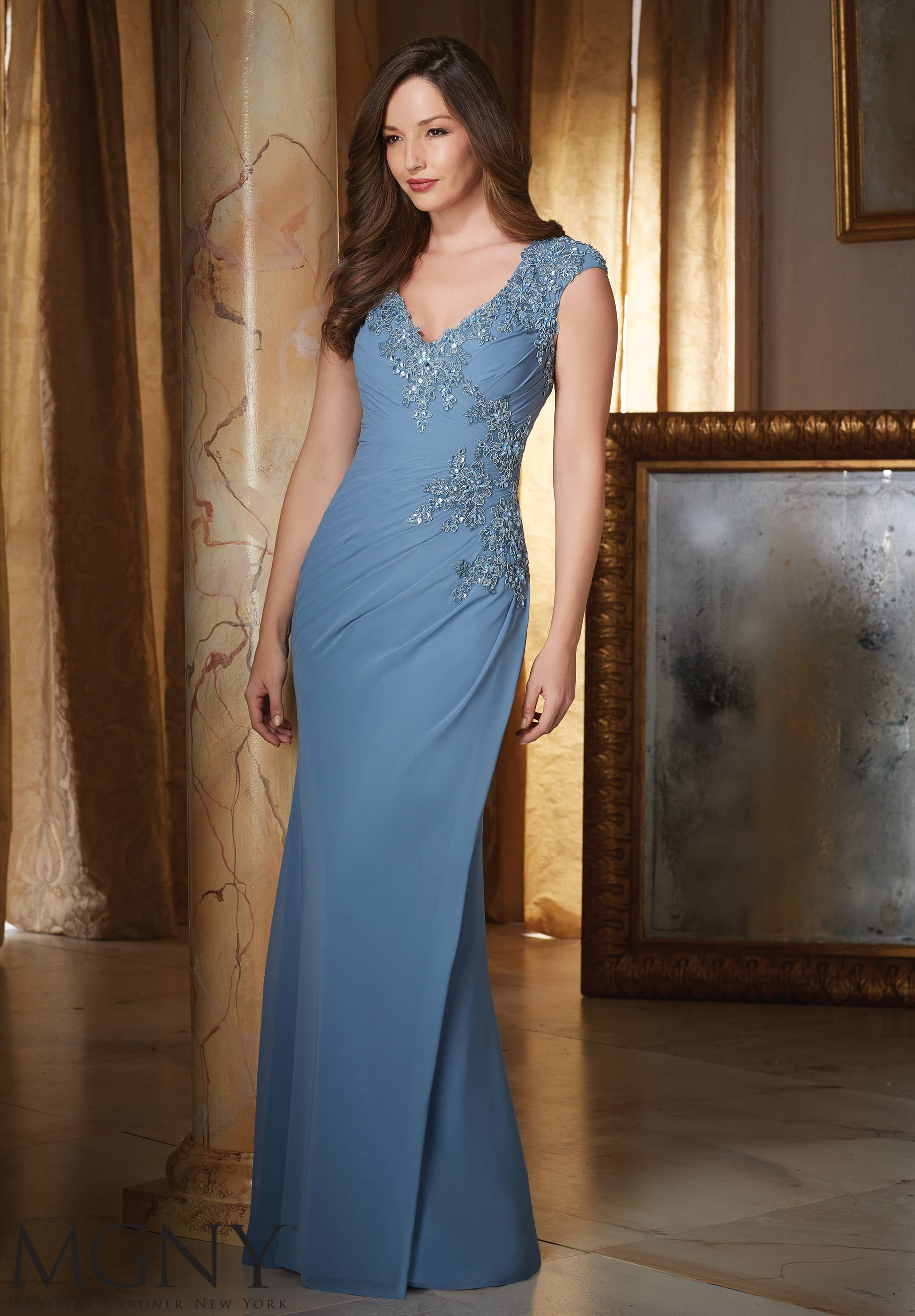 Beaded Lace Appliques on Chiffon Mother of the Bride Dress Designed ...