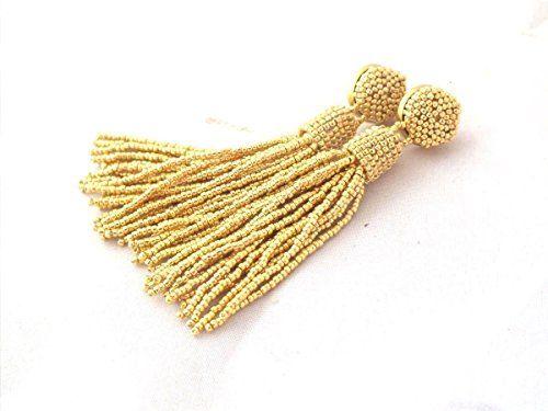 Gold Beaded Bridal Tassel Earrings Statement Seed Beads Long Tassle Luxury Fringe Clip On – Buyerstops