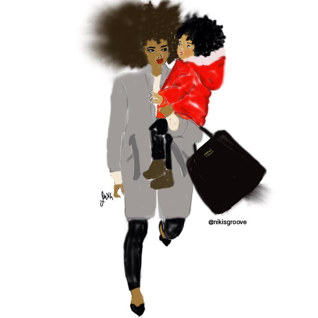 Niki Kobi We strolling… #nikisgroove #nikikobi #illustrations #blackart #afroart #Paris #NewYork #nappy