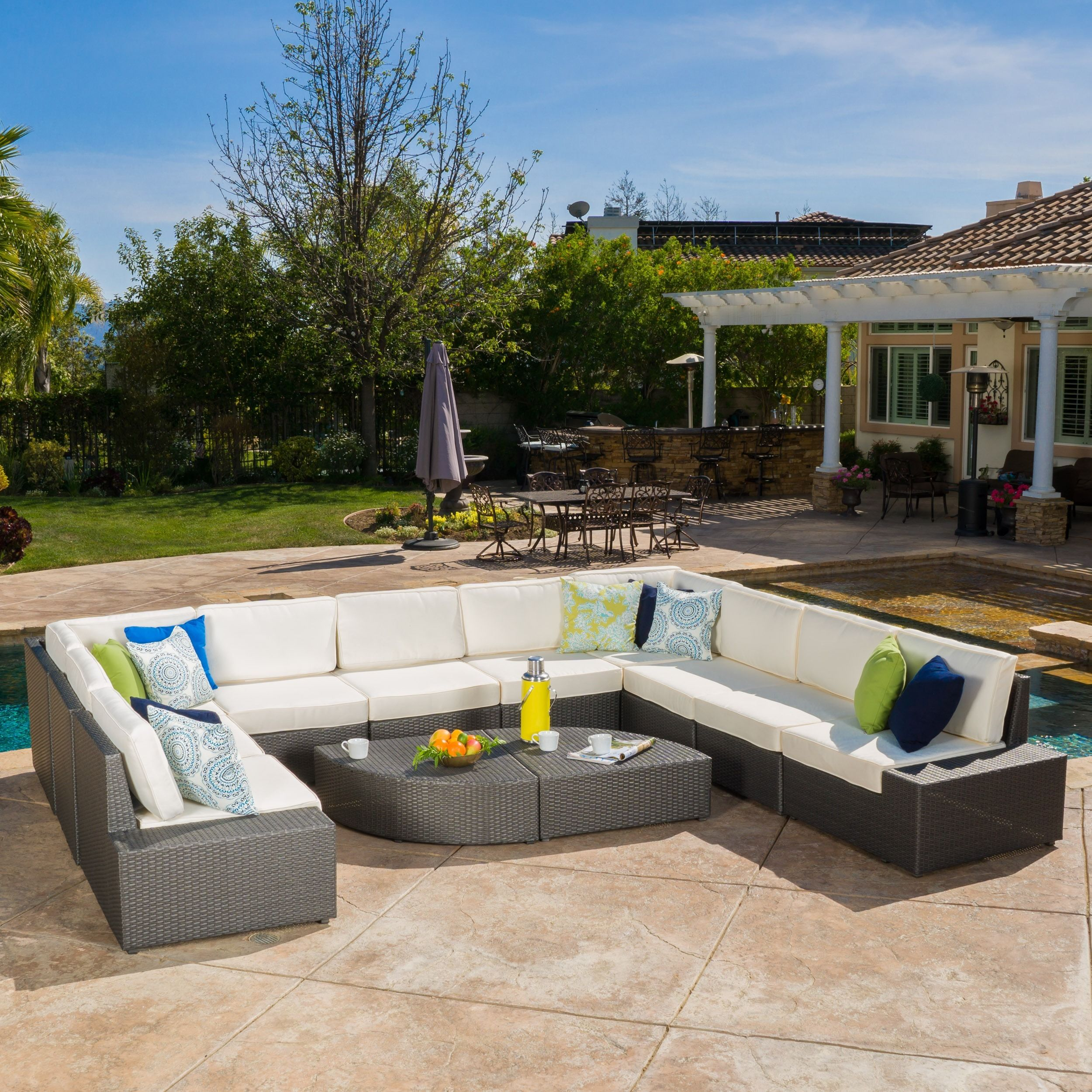 Marvelous Santa Cruz Outdoor 12 Piece Wicker Sectional Sofa Set With Cushions By  Christopher Knight Home (Grey), Patio Furniture (Fabric)