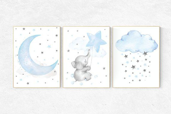Nursery decor elephant, nursery wall art elephant, Blue and gray, Nursery decor boy, nursery decor, clouds and stars, blue grey nursery