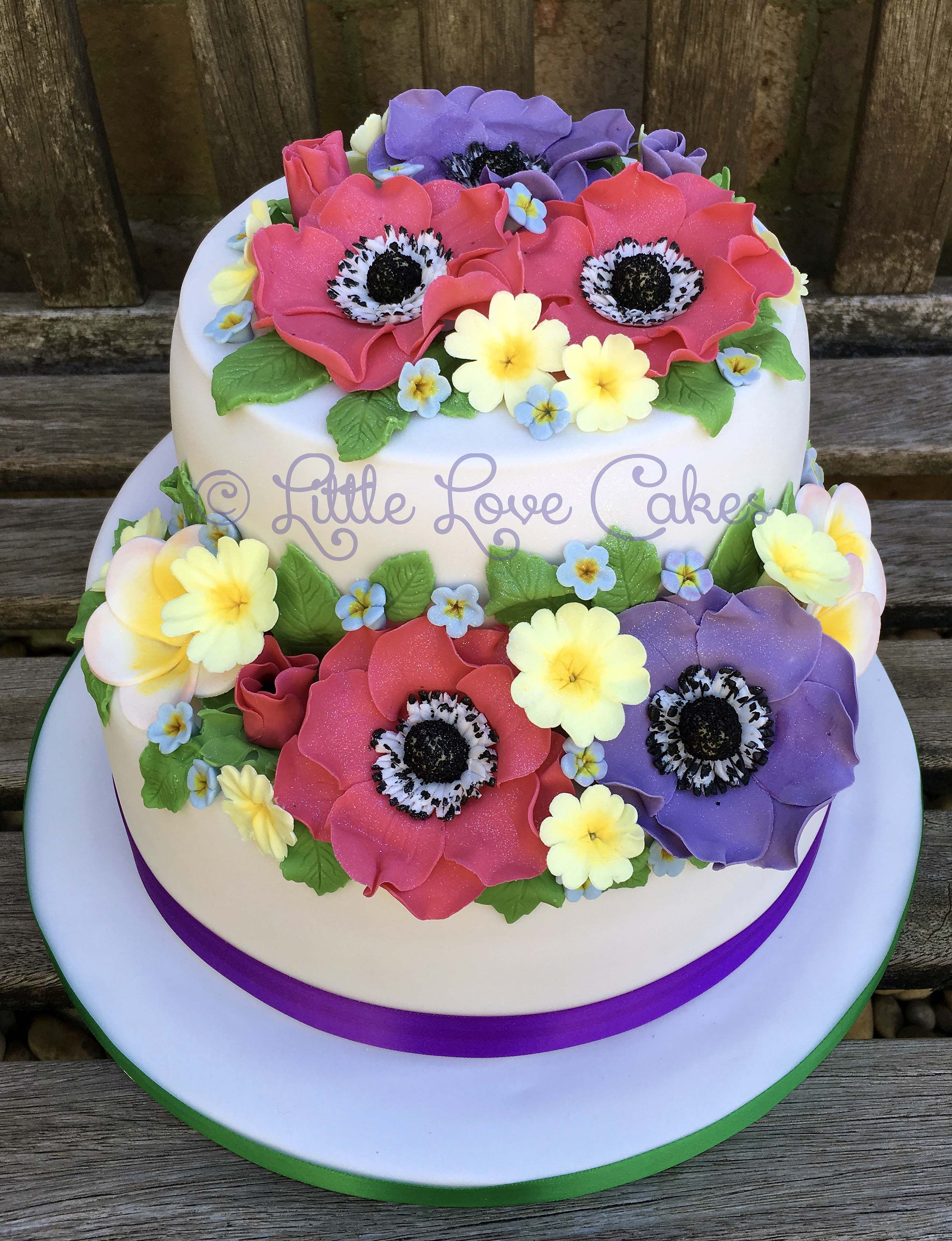 Spring Flower Cake With Anemones Primroses Forget Me Nots Cakes