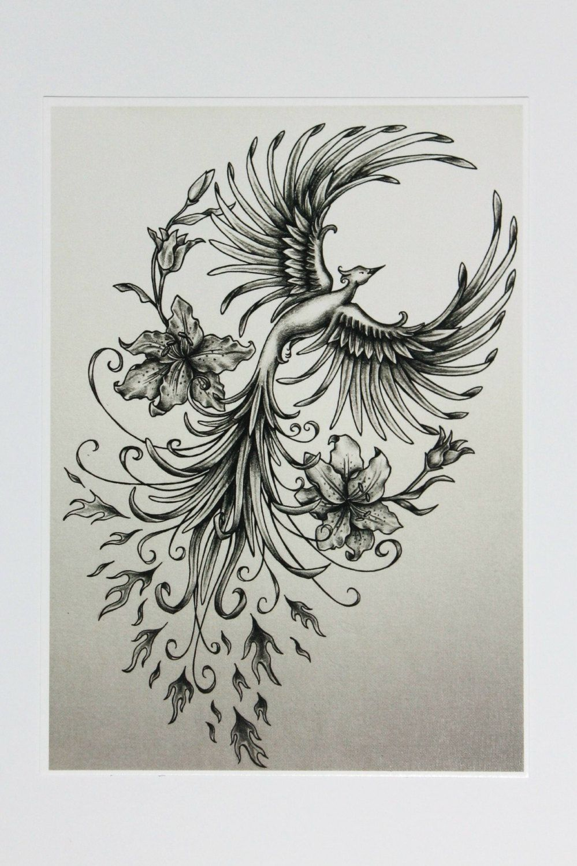 5 X 7 Pheonix And Lillies Fine Art Print By Jennifermckayhiggins
