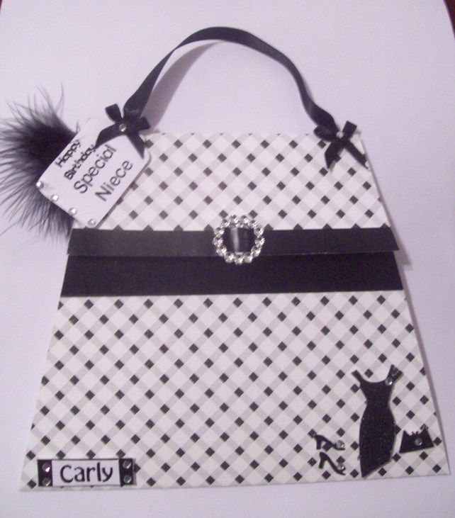 Personalised Black White Handbag Card 4 00