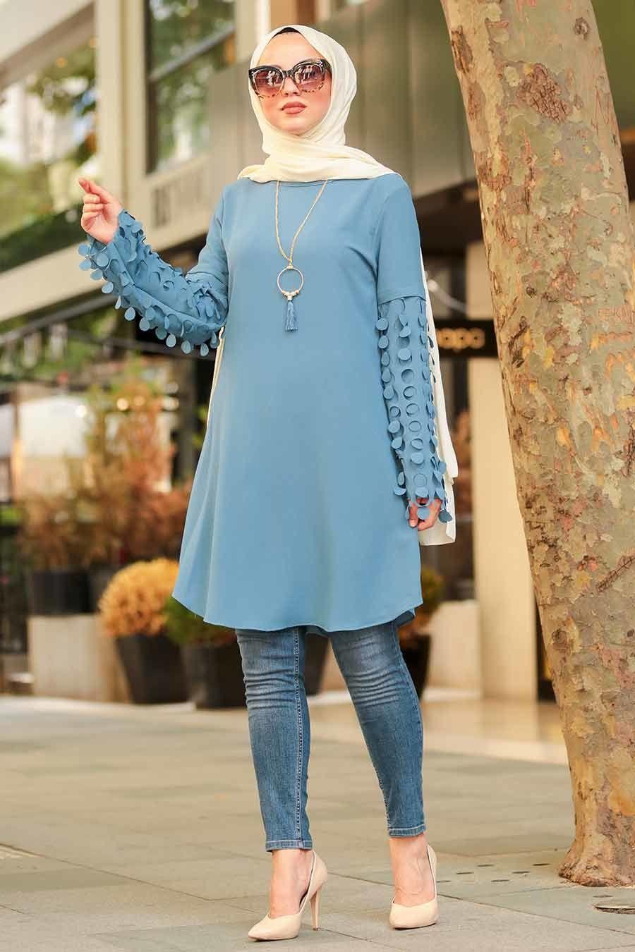 Neva Style Indigo Mavisi Tesettur Tunik 4095im Moda Indigo Tunik